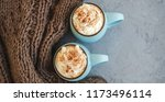 two mugs of coffee  cocoa or... | Shutterstock . vector #1173496114
