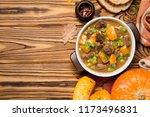 beef stew with pumpkin  peas... | Shutterstock . vector #1173496831