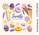 set of delicious fruit sweets... | Shutterstock .eps vector #1173516934