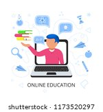young handsome man in laptop... | Shutterstock .eps vector #1173520297