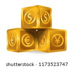isolated golden cube pyramid... | Shutterstock .eps vector #1173523747