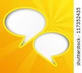 Two Yellow Paper Speech Bubbles