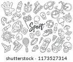 hand drawn set of sport doodles ... | Shutterstock .eps vector #1173527314