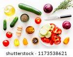 vegetarian food concept. set of ... | Shutterstock . vector #1173538621