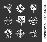 target icon set white isolated...