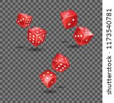 set of the red rolling dices | Shutterstock .eps vector #1173540781
