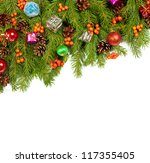 christmas background with balls ... | Shutterstock . vector #117355405
