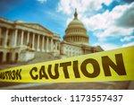 caution tape running across the ... | Shutterstock . vector #1173557437