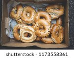 box with fresh bakery on tel... | Shutterstock . vector #1173558361