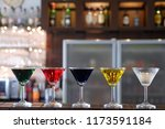 colorful cocktails party at bar | Shutterstock . vector #1173591184