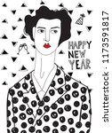 woman in new year's eve. black... | Shutterstock .eps vector #1173591817