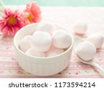 pink marshmallows in a bowl | Shutterstock . vector #1173594214