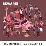 isometric zombie apocalypse... | Shutterstock .eps vector #1173615451