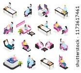 beauty salon set of isometric...   Shutterstock .eps vector #1173617461