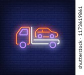 car towing neon icon. tow truck ... | Shutterstock .eps vector #1173619861
