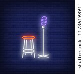 stage neon icon. mic and chair... | Shutterstock .eps vector #1173619891