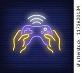 game controller neon icon.... | Shutterstock .eps vector #1173620134