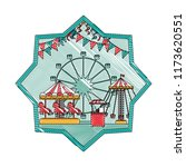 doodle mechanical ride carnival ... | Shutterstock .eps vector #1173620551