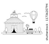 line circus and air balloon... | Shutterstock .eps vector #1173620794