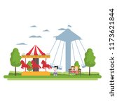 children eating and mechanical... | Shutterstock .eps vector #1173621844