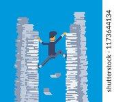 businessman climbs up. reaching ... | Shutterstock .eps vector #1173644134