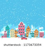blue winter cityscape... | Shutterstock .eps vector #1173673354