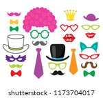 Vector set of photo booth props - wedding, party, birthday decorations