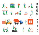 set of workers icons on... | Shutterstock .eps vector #1173707734