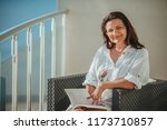 beautiful forty years old woman ...   Shutterstock . vector #1173710857