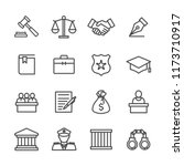 Justice And Law Lines Icon Set