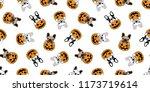 dog seamless pattern vector... | Shutterstock .eps vector #1173719614