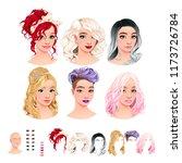 fashion female avatars. 6... | Shutterstock .eps vector #1173726784