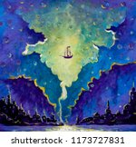 old pirate ship  peter pan in... | Shutterstock . vector #1173727831