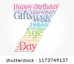 happy 7th birthday word cloud... | Shutterstock .eps vector #1173749137