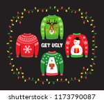 cute banner for ugly sweater... | Shutterstock . vector #1173790087