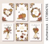 set of six hand drawn mini... | Shutterstock .eps vector #1173806701