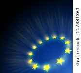 european union stars glare on... | Shutterstock .eps vector #117381361