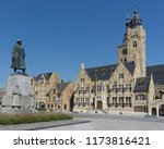 market square in diksmuide with ... | Shutterstock . vector #1173816421