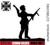 silhouette of german soldier of ... | Shutterstock .eps vector #1173821581