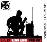 silhouette of german soldier of ... | Shutterstock .eps vector #1173821584