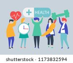 charactes of people holding...   Shutterstock .eps vector #1173832594