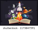 Open Book With Rocket ...