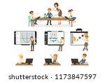 school children at the... | Shutterstock .eps vector #1173847597