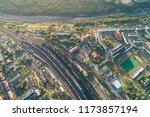 junction railway station with...   Shutterstock . vector #1173857194