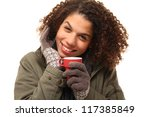 beautiful woman with a red cup | Shutterstock . vector #117385849