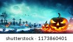 jack o' lanterns and zombie... | Shutterstock . vector #1173860401