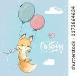 little fox with balloon | Shutterstock .eps vector #1173864634