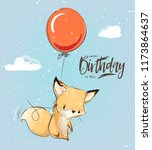 little fox with balloon | Shutterstock .eps vector #1173864637