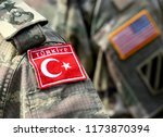 turkish flag and us flag on... | Shutterstock . vector #1173870394