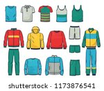 set of male clothing  singlets  ... | Shutterstock .eps vector #1173876541
